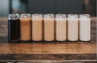 row of different types of coffee. created from using a manual coffee machine